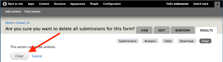 Button to confirm to delete all webform submissions