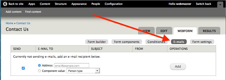 E-mails link for a webform