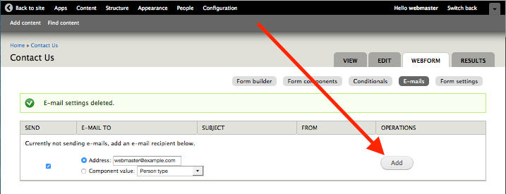 Button to add an email recipient to a webform