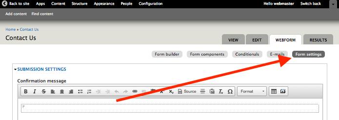 Form settings link on a webform