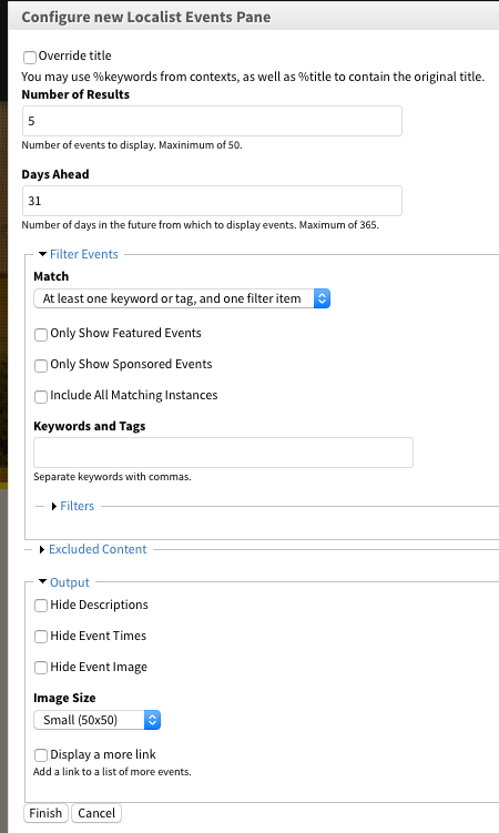 Configuration form for a Localist Events pane