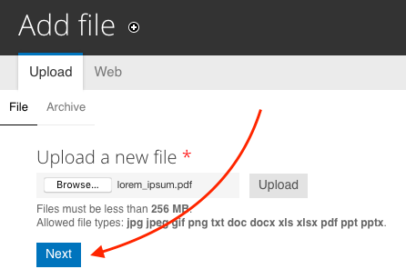 Arrow drawing attention to the Next button to upload a new file