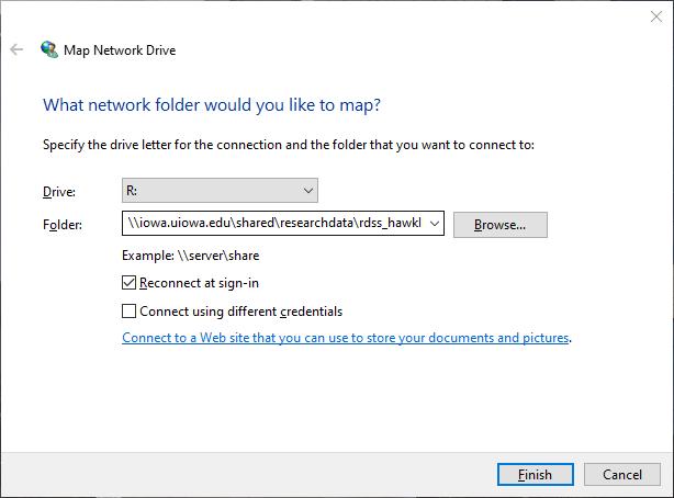 Screenshot of Map Network Drive window