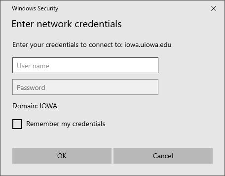 Screenshot of Windows Security Enter network credentials
