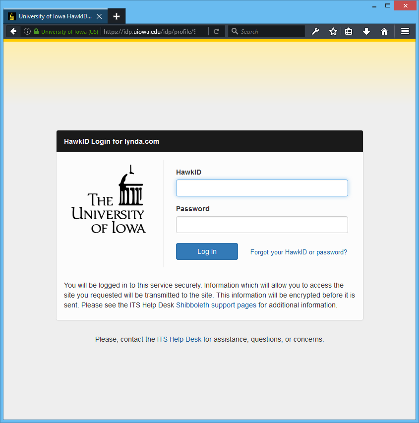 Screenshot of the University of Iowa Shibboleth Login Page