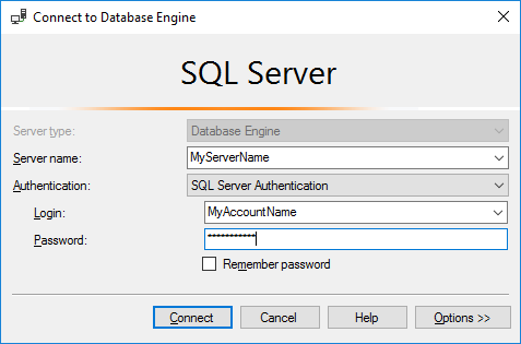 """Screenshot of MS SQL Server """"Connect to Database Engine"""" dialog box"""