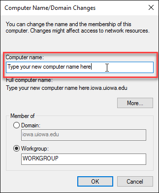 Type in a new computer name