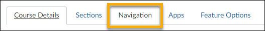 Under Settings select the Navigation tab