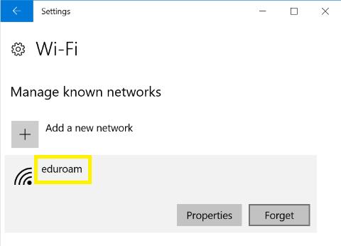 Windows 10 click the eduroam network