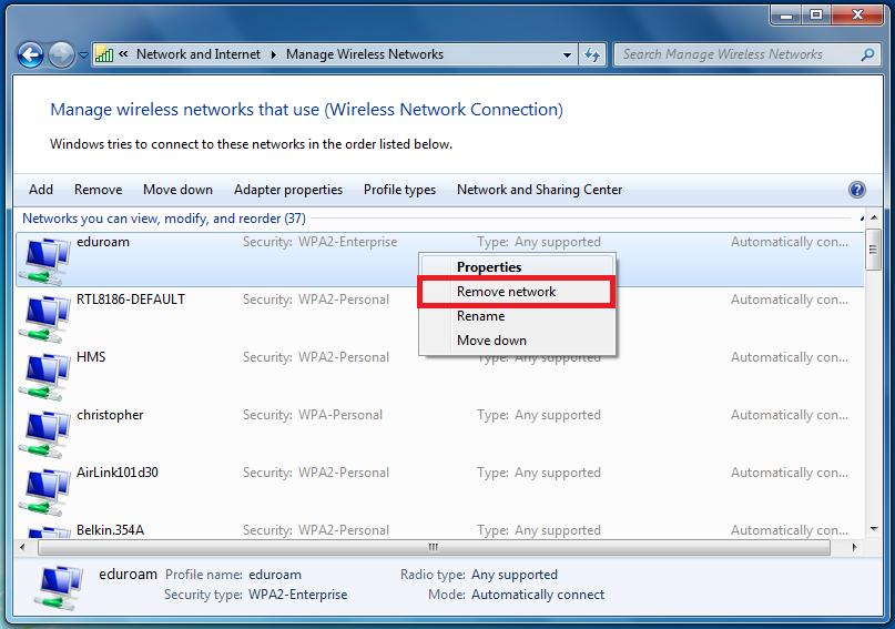 Windows 7 right click Eduroam then click Remote network