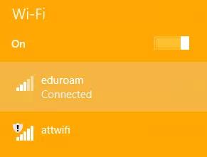 Windows 8 Wireless network list