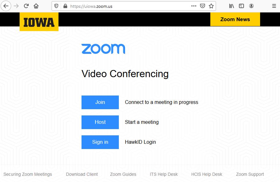 University of Iowa Zoom Login Page