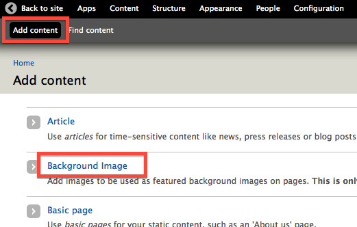 Add content page highlighting Background Image content type