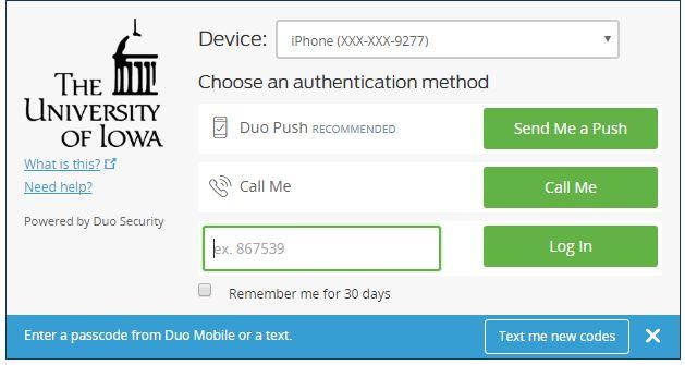 Duo Passcode Login
