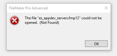The file could not be opened error