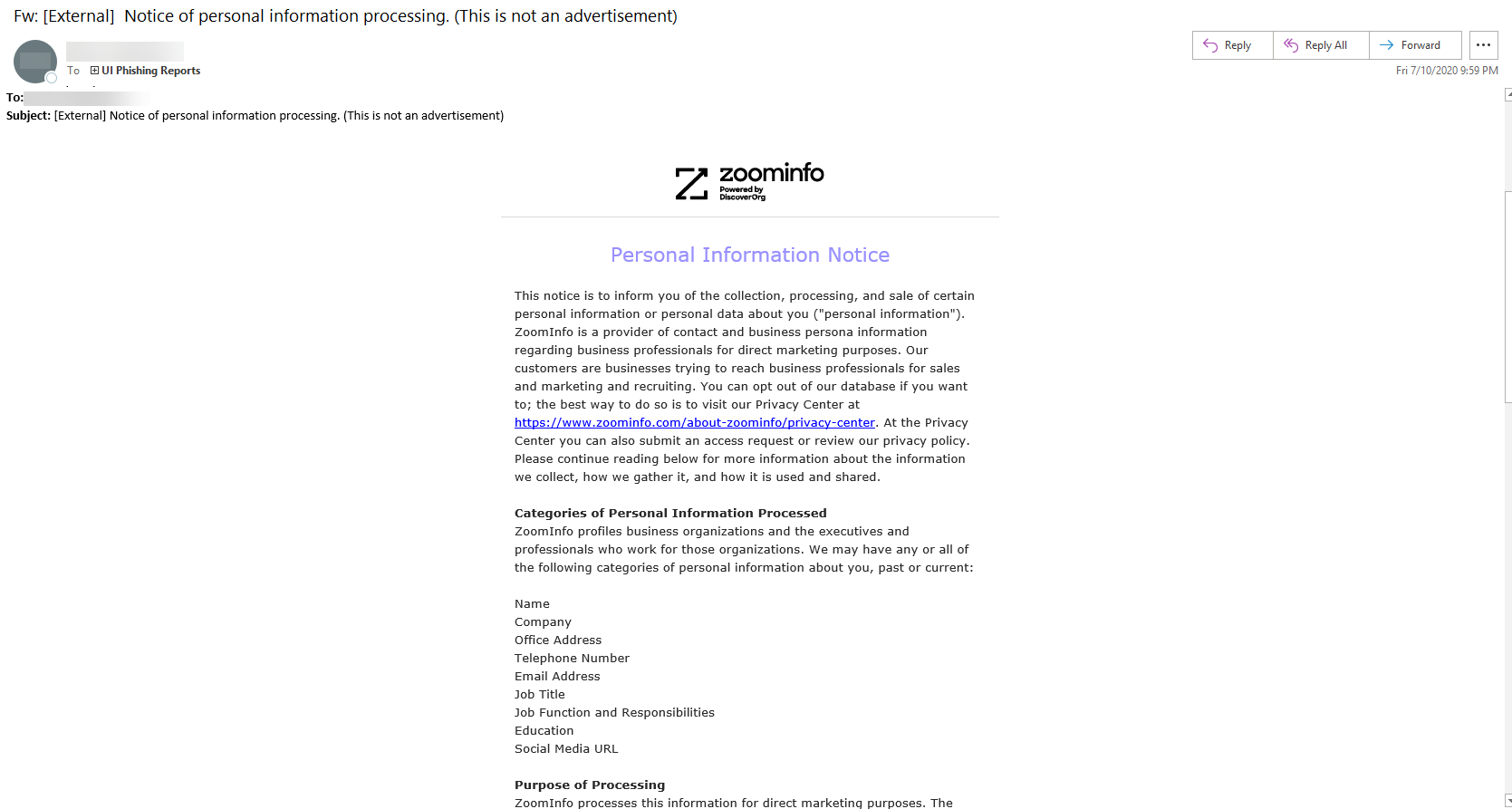 zoom info personal information notice