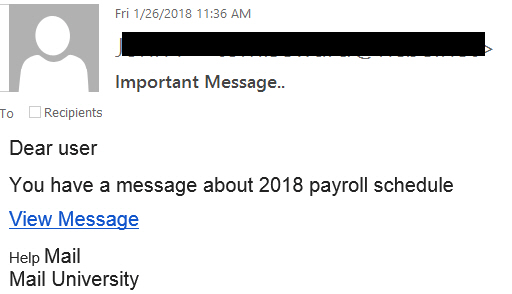 """Important Message.."" phishing example with text ""Dear user  You have a message about 2018 payroll schedule  View Message  Help Mail Mail University"""