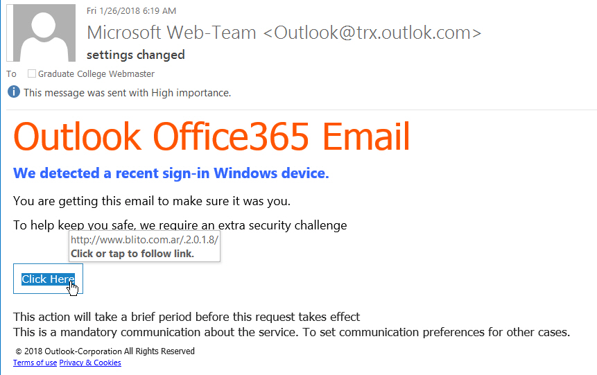 """settings changed"" phishing example with text "" Outlook Office365 Email  We detected a recent sign-in Windows device..."""