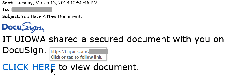 "You Have A New Document phish message with DocuSign Image and text: ""IT UIOWA shared a secured document with you on DocuSign.   CLICK HERE to view document."""