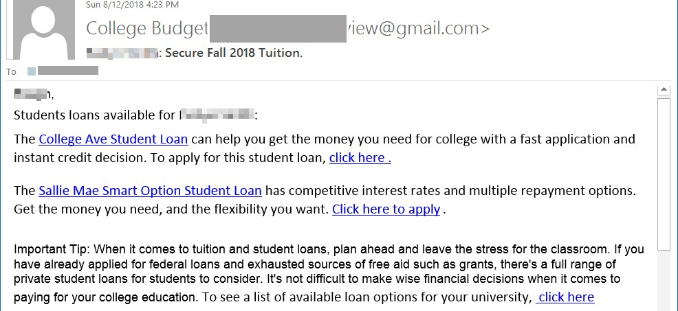Phish sample: [your name] Student loans are available. The College Ave Student Loan can...