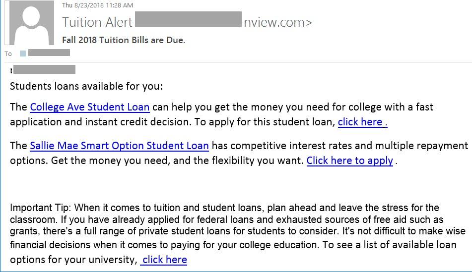 Phish sample: [your name] Student loans are available. The College Ave Student Loan can