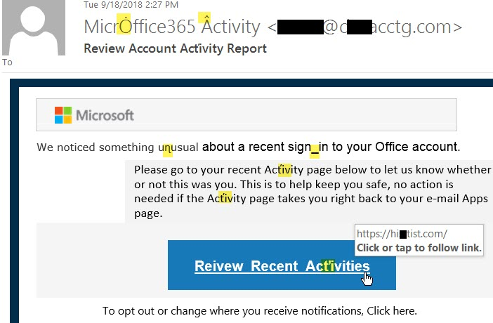 Review Account Acťivity Report phish message with text: We noticed something uɳusual about a recent sign_in to your Office account. 	  	Please go to your recent Acťivity page below to let us know whether or not this was you. This is to help keep you safe,