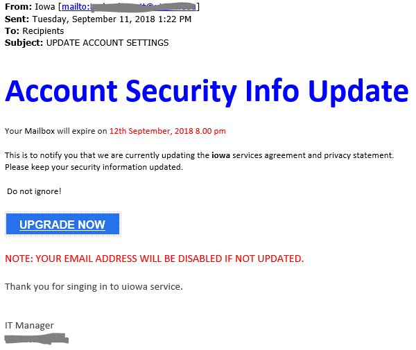 "Phish message with text begining with ""Account Security Info Update  Your mailbox will expire"""