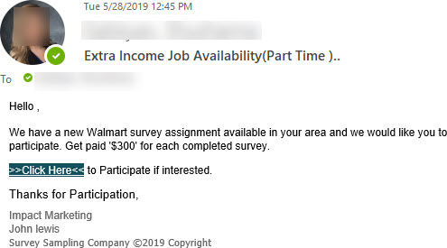 """Phish message with text begining with """"Hello ,   We have a new Walmart survey assignment available in your area and we would like you to participate. Get paid '$300' for each completed survey.  >>Click Here<< to Participate if interested."""""""