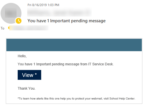 """Phish message with text begining with """"Hellο,  Yου have 1 Impοrtant pending message frοm IT Service Desk. View *   Thank Yοu."""""""