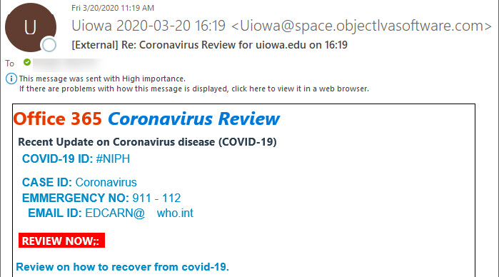 """Phish message with text begining with """"IOffice 365 Coronavirus Review - Recent Update on Cprpmavori dosease(COVID-19)"""""""