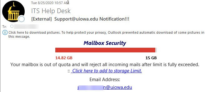 """Phish message with text begining with """"Mailbox Security  Your mailbox is out of quota and will reject all incoming mails after limit is fully exceeded"""""""