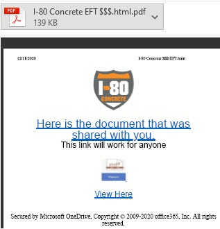 """Attached .pdf file with malicious link """"Here is the document that was shared with you."""""""