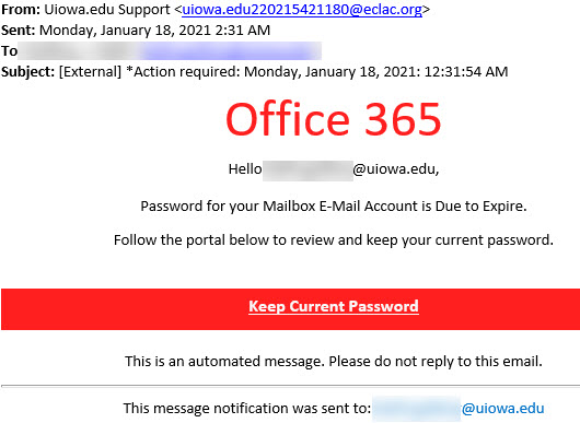 """Phish message spoofing uiowa.edu Support with text stating """"Password for your Mailbox E-Mail Account is Due to Expire."""""""