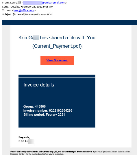 """Phish message with text begining with """"Ken Gaul has shared a file with You  (Current_Payment.pdf)"""""""