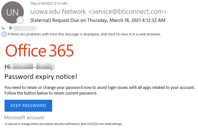 """Phish message with text begining with """"Hi {firstname-lastname}  Password expiry notice!"""""""
