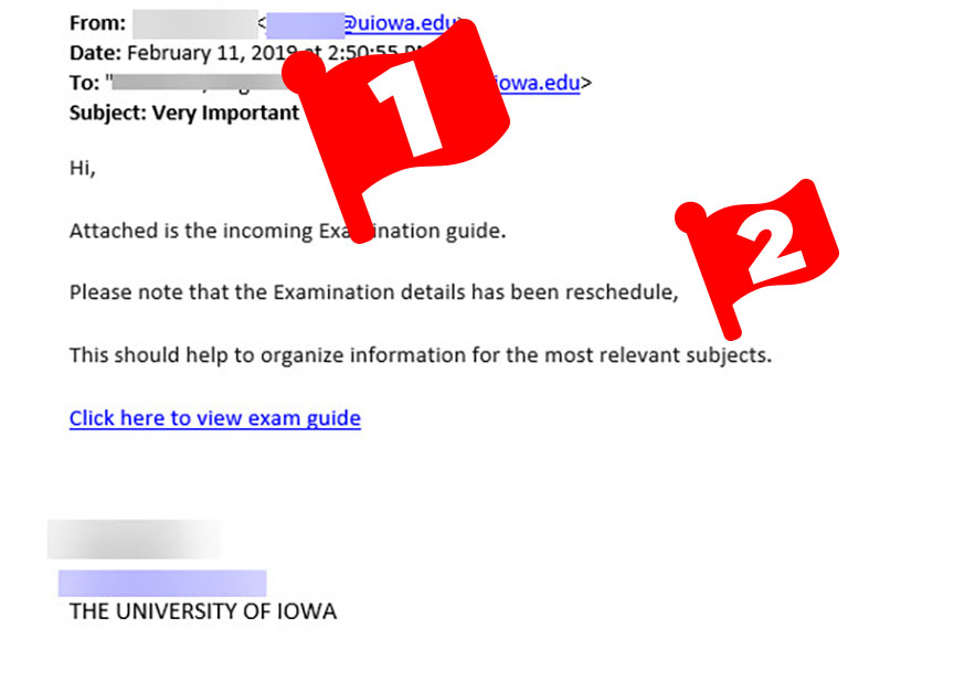 Email asking recipient to click a link and download a study guide.
