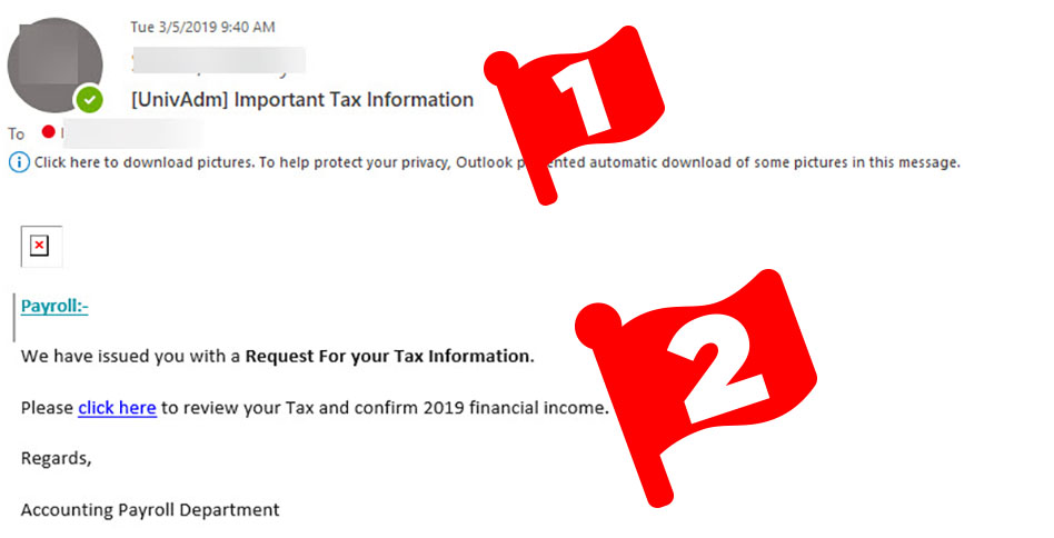 Email asking recipient to click a link and provide tax info.