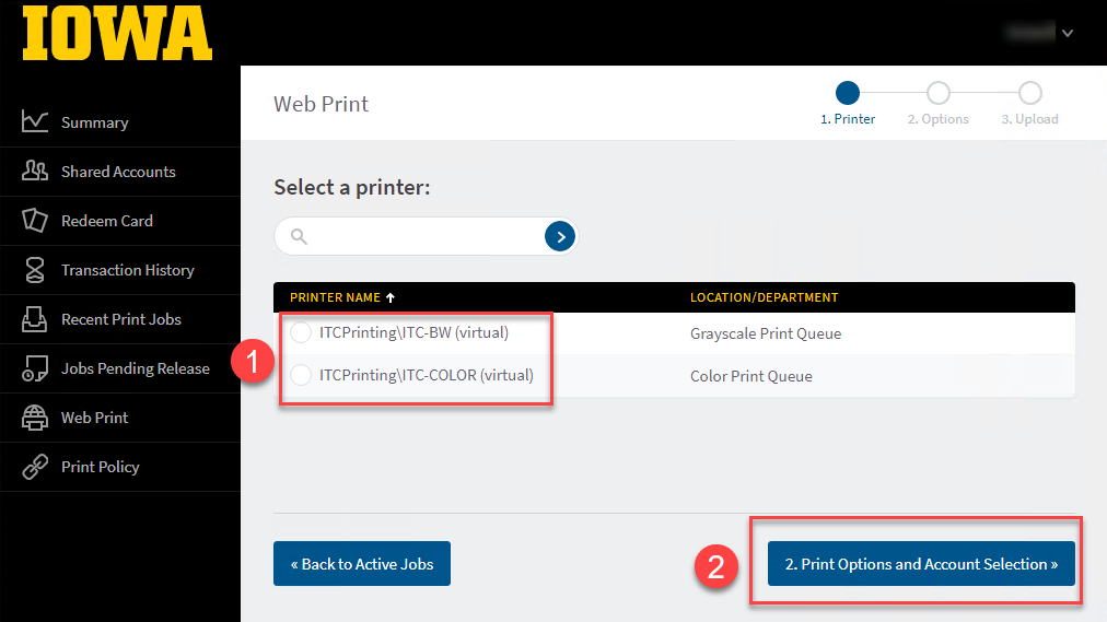 Select the Grayscale (BW) or Color Print Queue