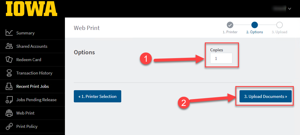 Select the number of copies you need and upload