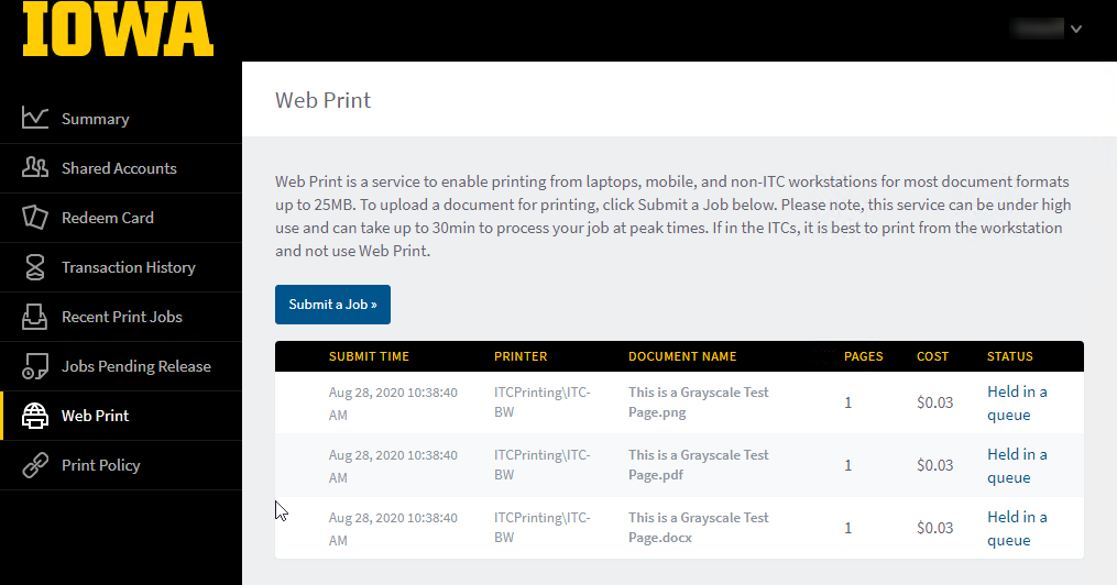Your submitted Web Print Job Status Screen